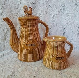 Vintage Chicken Basket Coffee and Cream Pitchers